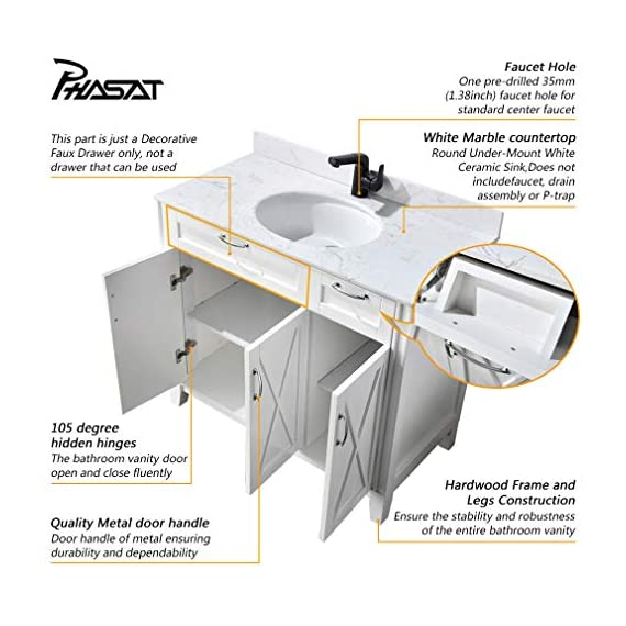 "PHASAT Bathroom Vanity with White Marble Top, Single Sink 40-inch Bath Vanity without Mirror,Soft White,3 Doors,1 Small Drawer,40"" W x 20.6"" D x 35.2""H,JH501B - High-end furniture-grade construction. Crafted of laminated solid wood! Absolutely no MDF or cheap particle board anywhere in this product White Marble countertop,Round Under-Mount White Ceramic Sink,Does not include faucet, drain assembly or P-trap Single sink bathroom vanity with three doors,one small drawers and One Decorative Faux Drawer,hardwood Frame and legs - bathroom-vanities, bathroom-fixtures-hardware, bathroom - 51ZwnTNpayL. SS570  -"