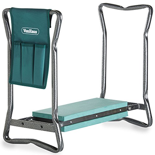 VonHaus 2-in-1 Portable Folding Garden Kneeler Bench and Seat Stool with Tool Bag Accessory - EVA Foam and Steel Frame Perfect for Gardening