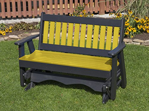 4FT-YELLOW-POLY LUMBER Mission Porch GLIDER Heavy Duty EV...