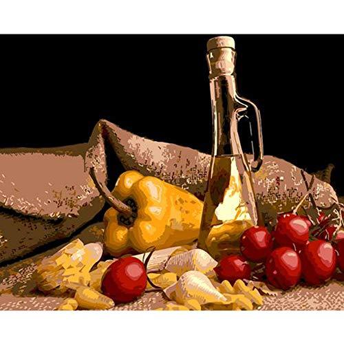 Mbywq Pintura Al Óleo Por Numero Kit De Naturaleza Muerta, Pintura De Bricolaje, Vino Y Frutas En La Mesa Imagen Comedor Decoracion De Pared(Sin Marco)