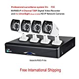 4 Channel 720P POE Network Video Recorder and 4* HD/720P IP Network Cameras