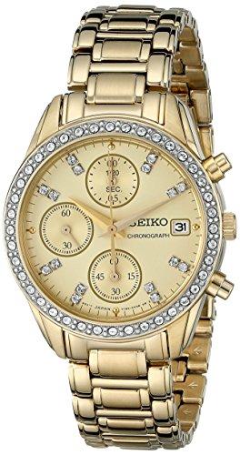 Chronograph Crystal Japanese Quartz Watch (Seiko Ladies Watch Champagne Dial)