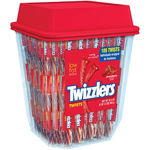 Twizzlers Strawberry Licorice Individually Wrapped 2lb Per Tub, set of 2