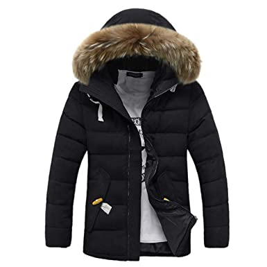Mens Puffer Jacket Lightweight. Men Winter Long Sleeve Hooded Pocket Thickening Coat Outwear Top Blouse
