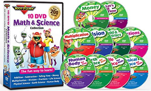 10 DVD Math & Science Collection by Rock 'N Learn (Addition & Subtraction, Tell Time, Money, Multiplication, Division, Fractions, Physical Science, Earth Science, Life Science and Human Body) (Rock N Learn Addition And Subtraction Rock)