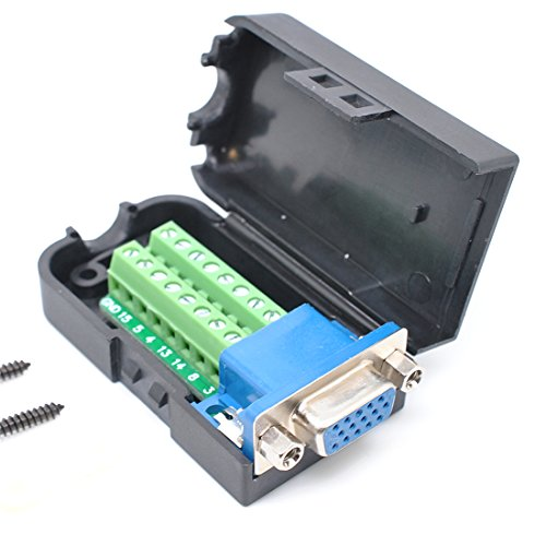 Price comparison product image Oiyagai DB15 3+9 D-SUB VGA Female 3Row 15Pin Connector Adaptor with Nut Terminal Breakout Board Free Welding