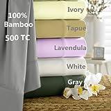 Luxury All Natural 100% Bamboo Sheet set sateen (White, King)
