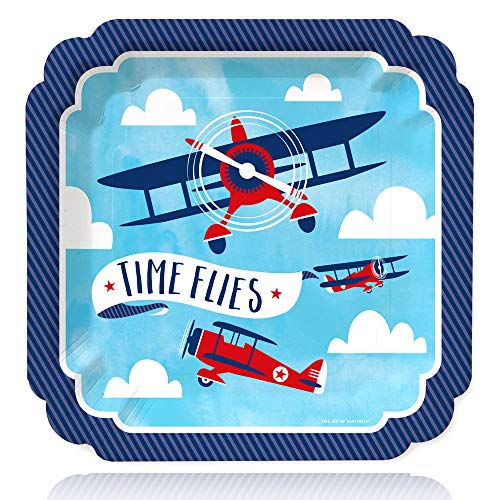 Taking Flight - Airplane - Vintage Plane Baby Shower or Birthday Party Dinner Plates (16 Count)