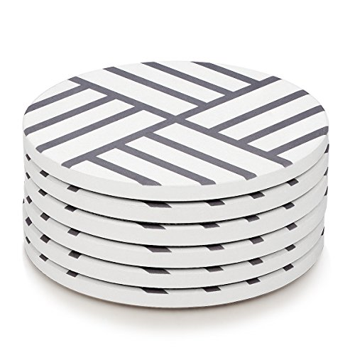 MIWARE Absorbent Stone Coasters in Grey & White