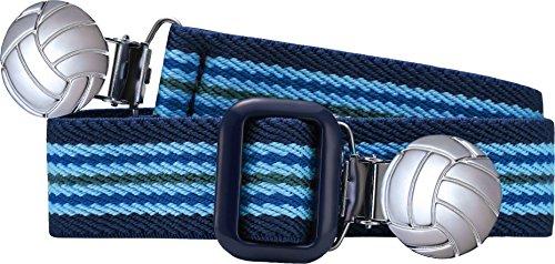 Playshoes Unisex - Kinder Gürtel 601211 Elastischer gestreifter Kindergürtel mit Fußball Clips, passend bei Größe 116-140, Gr. one size, Blau (hellblau/marine)