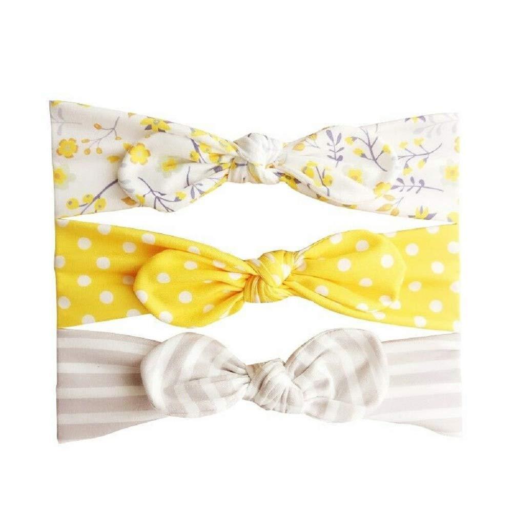 Aerobin Baby Girl Headband Cute Bow Hair Turban Head Band for 3-6 12-18 Months Newborns Girls Multicoloured,3Pcs//Set 6-12 Infants Toddlers Hair Accessories