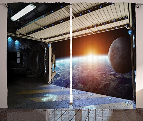 "Ambesonne Outer Space Curtains, Earth Scene from a Space Plane Runway Gate Globe Galaxy up to Stars Picture, Living Room Bedroom Window Drapes 2 Panel Set, 108"" X 84"", Cream Black"