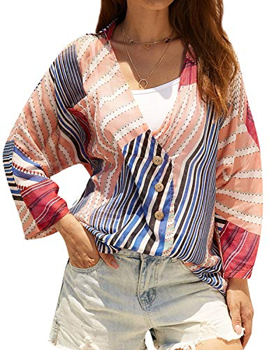 FEMLE Women Striped Print Colorblock Long Sleeve Button V-Neck Pocket Shirt Blouse