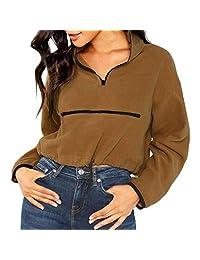 DRAGONHOO Women Casual Fluffy Solid Long Sleeve Zipper Sweatershirt Tops Hip Hop Streetwear Fleece Pullover Hoodie