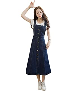 Drasawee Womens Denim Overall Dress Suspender Jumper Jean Skirt with Shirt 1#S