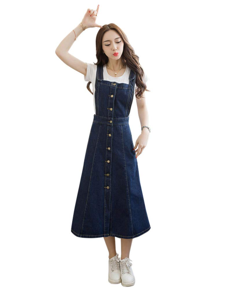 06b6d4c5fe Clothing Jumpsuits, Rompers & Overalls Drasawee Womens Denim Overall Dress  Suspender Jumper Jean Skirt with Shirt ...