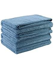 Polyte Quick Dry Lint Free Microfiber Bath Towel, 76 x 144 cm, Set of 4 (Blue)