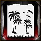 Palm Paradise 1 AirSick Airbrush Stencil Template