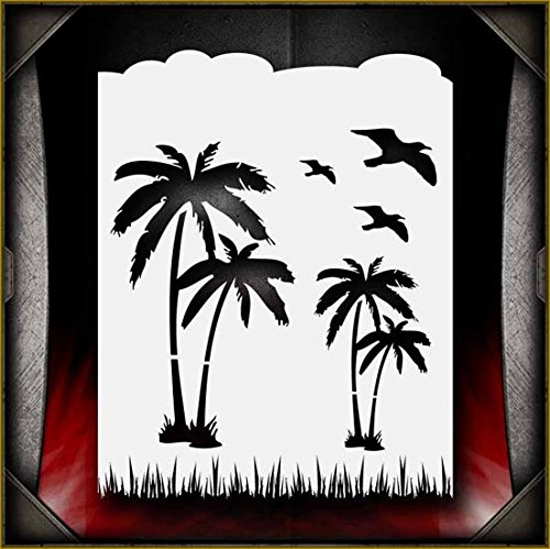Palm Paradise 1 AirSick Airbrush Stencil Template by AirSick Stencils