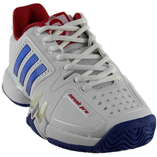 Adidas Barricade Novak Pro Men's Tennis Shoe White/Blue/Red (Adidas Tennis Pro)