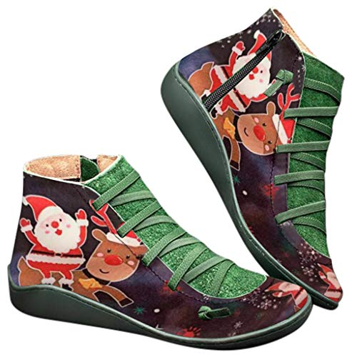 ⭐ Futurelove ⭐ 2019 New Women's Arch Support Boots with Side Zipper Ankle Boots Leather Comfortable Damping Shoes Platform Wedge Booties Santa Claus and Deer Print Shoes Christmas Boots