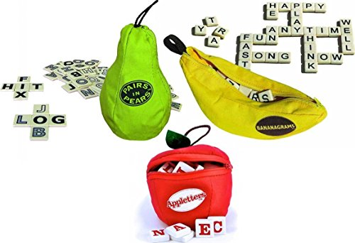 SET of 3 Games Bananagrams Appleletters Pairs in Pears Kids Learning Spelling