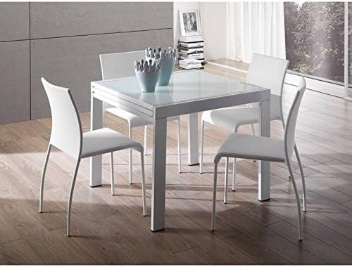 Tavolo Allungabile Metallo Cromato E Vetro Extrawhite Design Bianco Amazon It Casa E Cucina