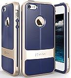 iPhone SE Case, Vena [vAllure] Wave Texture [Bumper Frame][CornerGuard ShockProof | Strong Grip] Ultra Slim Hybrid Cover for Apple iPhone SE / 5S / 5 (Gold / Navy Blue)