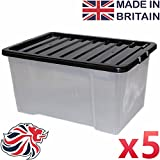 CrazyGadget 50L 50 Litre Large Big Plastic Storage Clear Box Strong Stackable Container - Made In U.K. - Pack of 5
