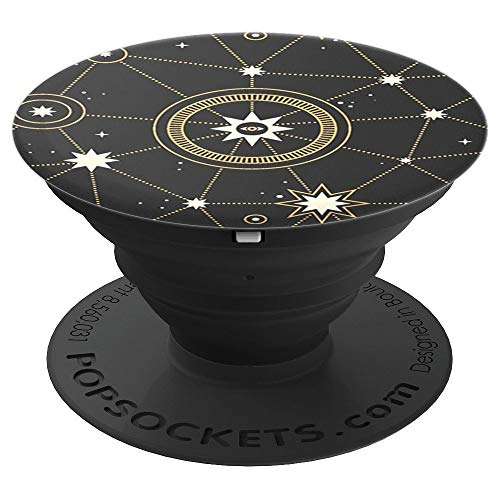Star Chart - Gold star map on black - PopSockets Grip and Stand for Phones and Tablets