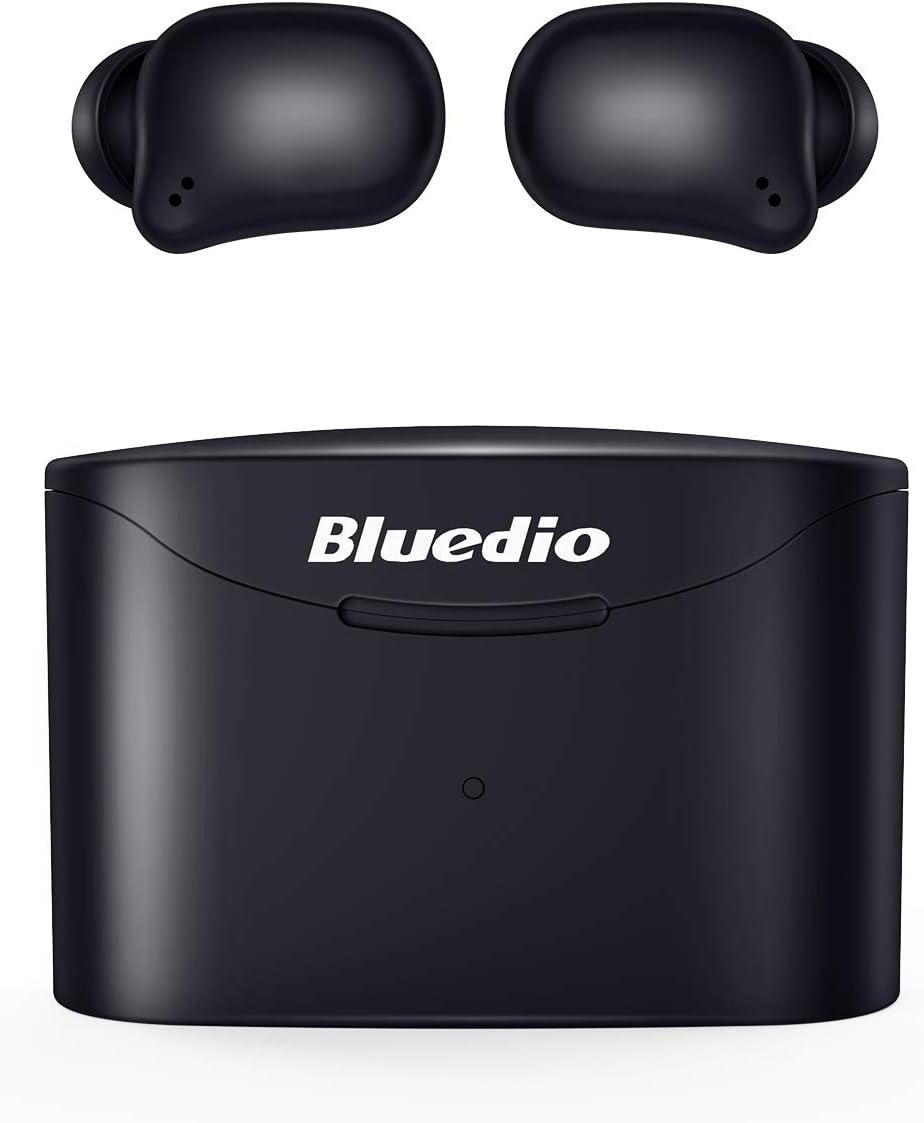 Bluedio Auriculares Bluetooth, T Elf2 Auriculares Inalámbricos Estéreo In-Ear Bluetooth 5.0 Auriculares con Llamadas Binaurales de Micrófono, Control Táctil, Emparejamiento Fácil, Total de 35 Horas