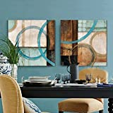 Blue and brown circles modern abstract oil painting canvas wall art decorative artist for home office