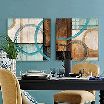 Amazon.com: Blue and brown circles modern abstract oil painting ...