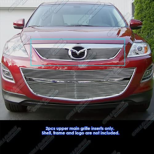 APS Compatible with 2010-2012 Mazda CX-9 Main Upper Aluminum Chrome Horizontal Billet Grille Insert S18-A47766M
