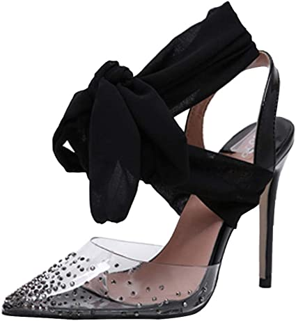 Womens Ladies Mid High Stiletto Heel Sandals Ankle Strap Court Heel Party Shoes