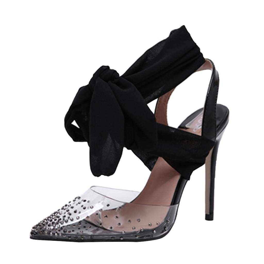 Nadition Ribbon High Heel Shoes ❤️️ Women's Summer Rhinestone Pointed Fashion Ankle Lace Up Thin Heels Shoes Black