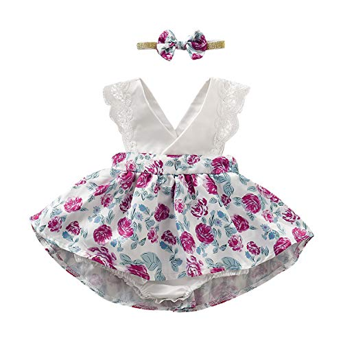 PROBABY Toddler Baby Girl Easter Dress Sleeveless Ruffles Romper Floral Dress Girl with Headband Summer Set 6-12M White -