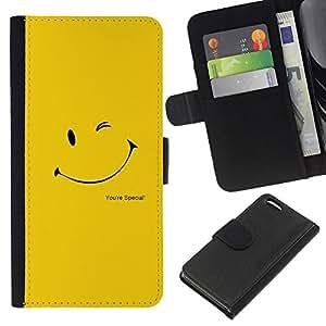KLONGSHOP // Tirón de la caja Cartera de cuero con ranuras para tarjetas - Guiño sonriente feliz amarilla de Sun del oro - Apple Iphone 5C //