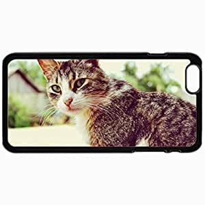 Customized Cellphone Case Back Cover For iPhone 6, Protective Hardshell Case Personalized Cat Serious Look Home Bokeh Green Eyes Black
