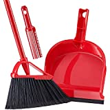 "Broom and Dustpan Set with Comb Teeth Tiumso SB032 Anti Static Expandable Brooms Dust Pan Warehouse Broom Lobby Broom Set Sweeping Set 55"" Long Handle Red"
