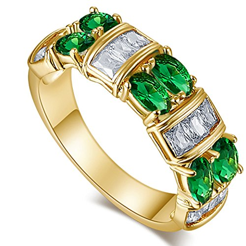 Narica Womens Fashion 5mmx6mm Oval Cut Emerald Quartz CZ Engagement Ring (Giraffe Crystal Jewelry)