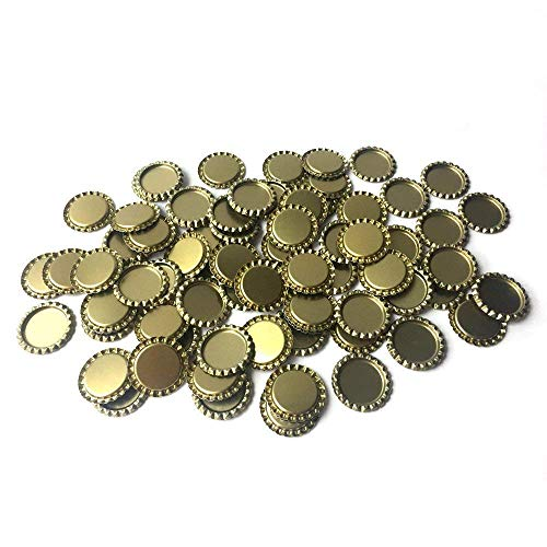 HAWORTHS 100 PCS Flat Decorative Bottle Cap Craft Bottle Stickers Double Sideds Printed for Hair Bows, DIY Pendants or Craft ScraPbooks Gold
