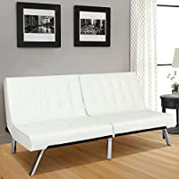 Best Choice Products Modern Leather Futon Sofa Bed Fold Up & Down Couch Recliner Furniture White