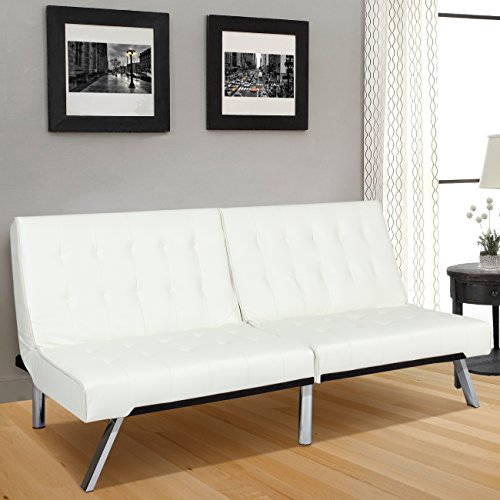 White Futon (Best Choice Products Modern Leather Futon Sofa Bed Fold Up & Down Couch Recliner Furniture White)