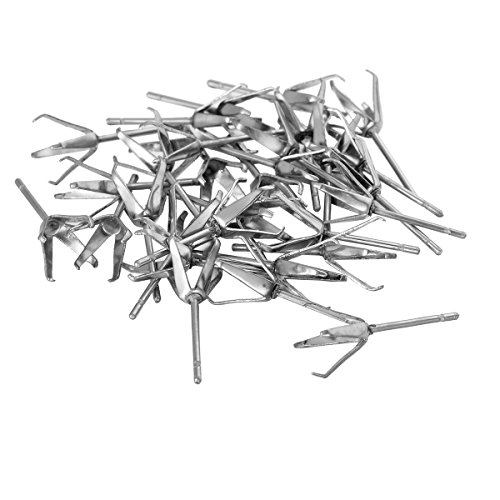 Steel Ear Claw - YF 30PCS Silver Tone Stainless Steel Mosaic 4 Claw Earring Ear Studs 18.5mm, Fit for 10mm