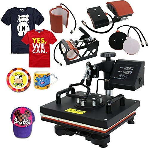 5in1 15X12 Digital Heat Press Machine New Heat Press Transfer Machine Counter Sublimation T-Shirt Cap ()