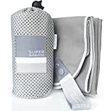 Super Towel for Sports, Travel & Beach - Lightweight, Compact, Absorbent, Quick-Dry, Soft Microfiber Suede - Great for yoga, pool, gym, bath, outdoors, anywhere! (Gray+White, M (40x20