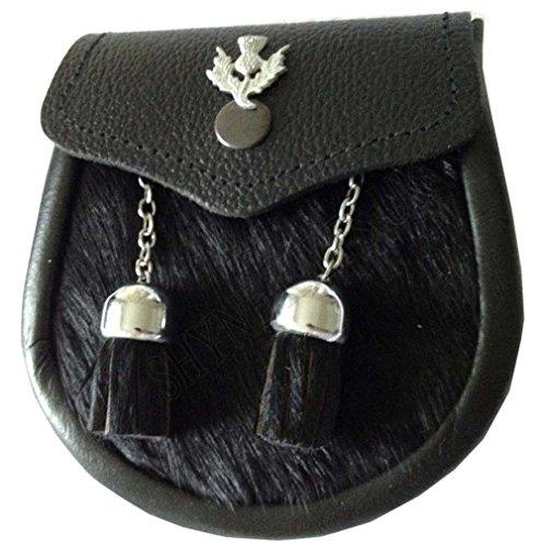 Baby Semi Dress Black Calf Skin Kilt Sporran with a Thistle Emblem & Chain Belt ()