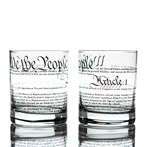 Greenline Goods Whiskey Glasses - United States Constitution (Set of 2) | 10 oz Tumblers - American US Patriotic Gift Set | Old Fashioned Cocktail Glasses (Glassware Custom Printed)