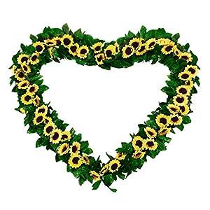 BEFINR 2 Pack 7.2FT Artificial Sunflower Vine Sunflower Garland Silk with Garden Craft Art Party Home Wedding Decor 66